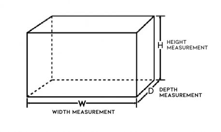 Image to show which dimensions are Width, Depth and Height
